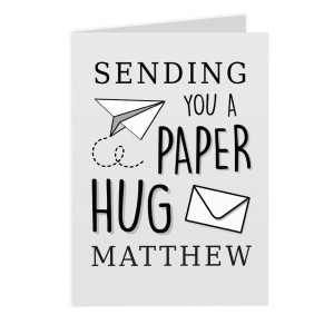 Personalised Grey Hug From Afar Card