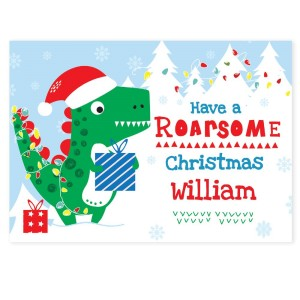 "Personalised Dinosaur ""Have a Roarsome Christmas"" Card"