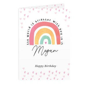 Personalised You Make The World Brighter Rainbow Card