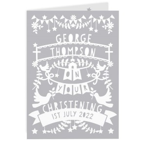 Personalised Grey Papercut Style Card