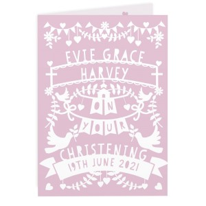 Personalised Pink Papercut Style Card