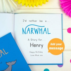 Personalised Id Rather Be A Narwhal Story Book - Hardback