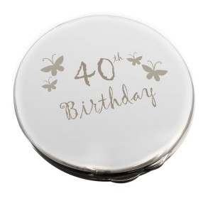 40th Butterfly Round Compact Mirror