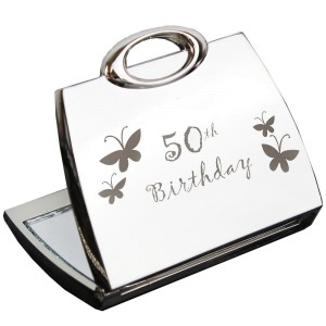 50th Butterfly Handbag Compact Mirror