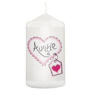 Auntie Heart Stitch Pillar Candle