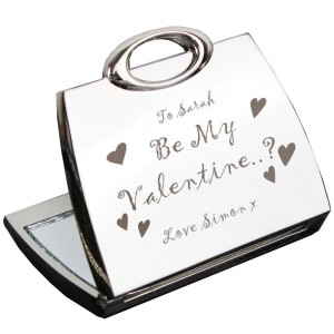 Personalised Be My Valentine Handbag Compact Mirror