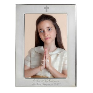 Personalised Silver Plated 5x7 Elegant Cross Photo Frame
