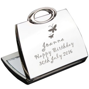 Personalised Butterfly Handbag Compact Mirror