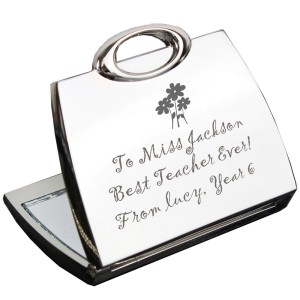Personalised Flowers Handbag Compact Mirror