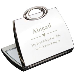 Personalised Decorative Heart Handbag Compact Mirror
