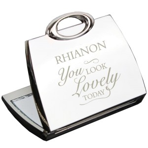 Personalised You Look Lovely Handbag Compact Mirror