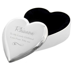 Personalised Any Message Swirls & Hearts Heart Trinket Box