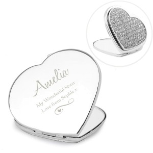 Personalised Swirls & Hearts Diamante Heart Compact Mirror