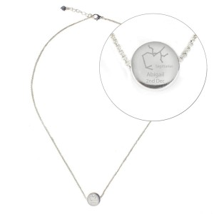 Personalised Sagittarius Zodiac Star Sign Silver Tone Necklace (November 22nd - December 21st)