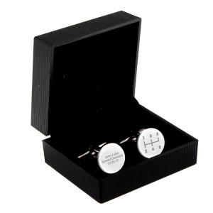 Personalised Gear Stick Round Cufflinks