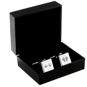 Personalised Hands and Feet New Baby Square Cufflinks