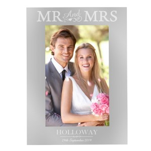 Personalised Silver Mr & Mrs 4x6 Photo Frame