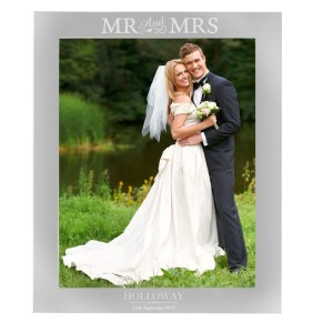 Personalised Mr & Mrs 8x10 Silver Photo Frame