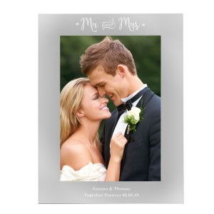 Personalised Mr & Mrs 5x7 Silver Photo Frame