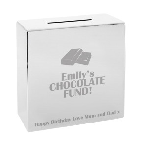 Personalised Milk Chocolate Square Money Box