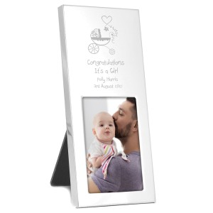 Personalised Pram Small 2x3 Silver Photo Frame