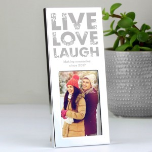 Personalised Small Silver Live Love Laugh 2x3 Photo Frame