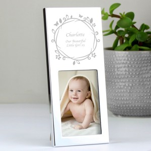 Personalised Small Butterfly Swirl 2x3 Silver Photo Frame