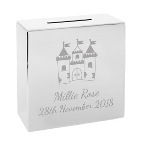 Personalised Castle Square Money Box