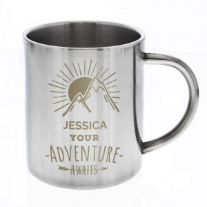 "Personalised ""Adventure Awaits"" Stainless Steel Mug"