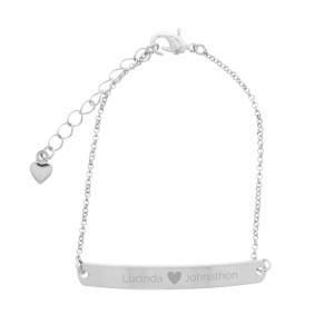 Personalised Silver Tone Heart Bar Bracelet