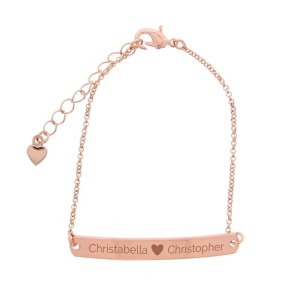 Personalised Rose Gold Tone Heart Bar Bracelet