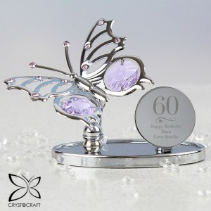 Personalised Swirls & Hearts Birthday Crystocraft Butterfly
