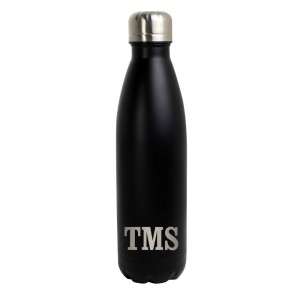 Personalised Initials Black Metal Insulated Drinks Bottle