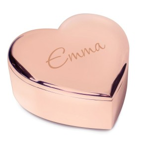 Personalised Name Only Rose Gold Heart Trinket Box
