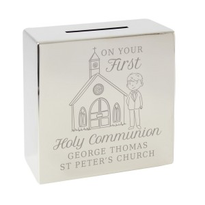 Personalised Boys First Holy Communion Square Money Box