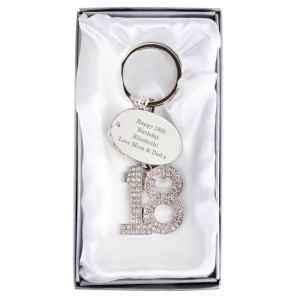 Personalised Free Text Diamante 18 Keyring