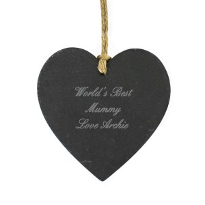 Personalised Script Engraved Slate Heart Decoration