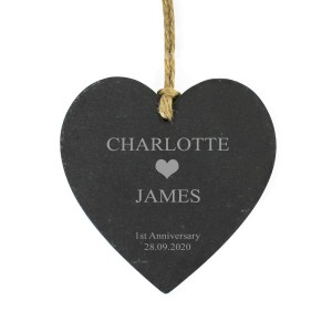 Personalised Large Heart Motif Slate Heart