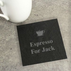 Personalised Hot Drink Motif Single Slate Coaster