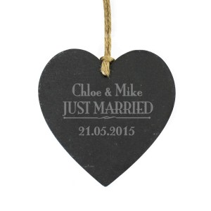 Personalised Just Married... Slate Heart Decoration