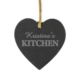 Personalised Kitchen Small Slate Heart
