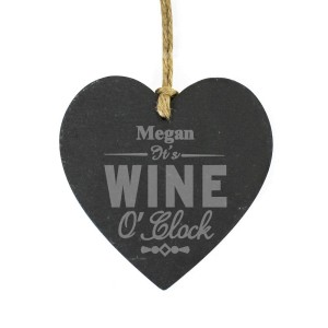 Personalised Wine O'Clock Slate Heart Decoration