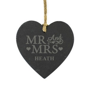 Personalised Mr & Mrs Small Slate Heart