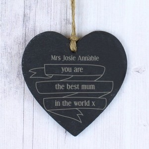 Personalised Garden Bloom Slate Heart Decoration