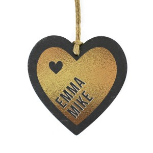 Personalised Couples Gold Printed Slate Heart Decoration