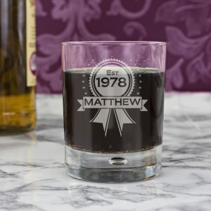 Personalised Established Rosette Tumbler Bubble Glass