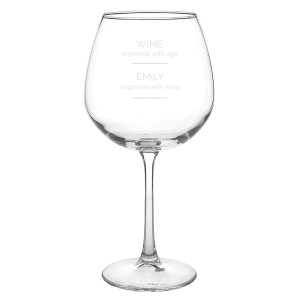 "Personalised ""Wine Improves with Age"" Bottle of Wine Glass"