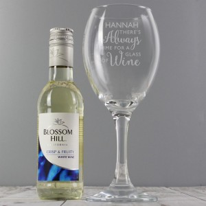 "Personalised White Wine & ""Always Time for Wine"" Glass Set"