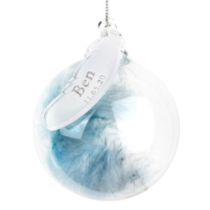 Personalised Name & Date Blue Feather Glass Bauble