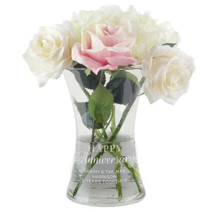"Personalised ""Happy Anniversary"" Glass Vase"
